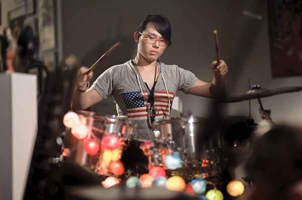 ellene, a transgender activist, plays the drums in a local band.