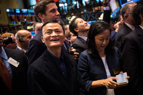 Jack Ma, Alibaba's founder, on the floor of the New York Stock Exchange on Friday.