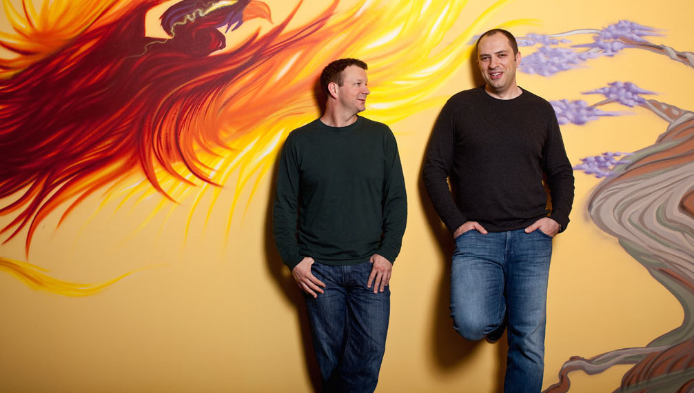 WhatsApp founders Brian Acton and Jan Koum at their headquarters in Mountain View