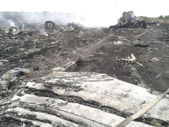 The wreckage of the downed MAS fight MH17 in eastern Ukraine. The winter season and ongoing clashes betwen Ukrainian forces and pro-Russian separatists have made it difficult for investigators to enter the crash site.