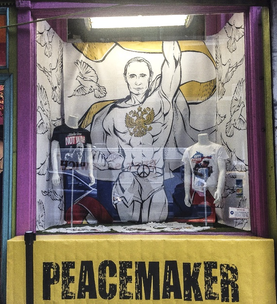 American artist Julius Kacinskis created an entire line of t-shirts around the theme of Putin as a peacemaker and began selling them today at a pop-up store in Manhattan.