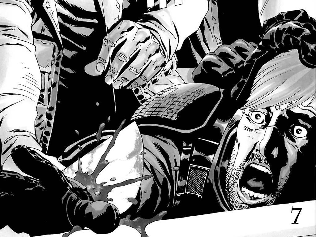 Rick Grimes' hand is cut off in Issue 28 of The Walking Dead comics.