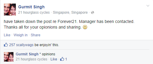 166180685bd ... following Forever 21 s response to the letter. Image from  FACEBOOK Gurmit Singh