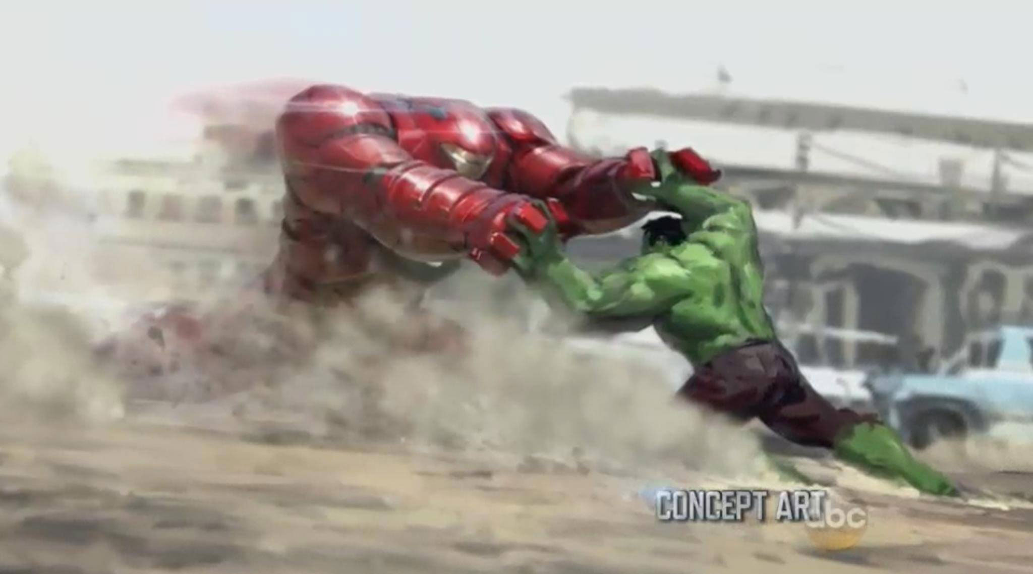 Concept art of Hulkbuster Iron Man Armour vs. The Hulk
