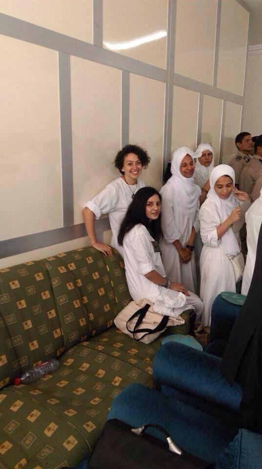In this photo dated 13 September 2014, female activists appearing in Cairo court during trial for violating the anti-protest law