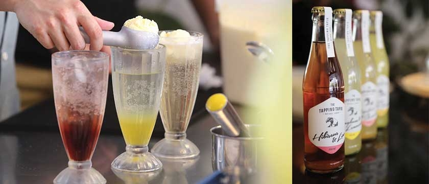 A simple soda is transformed into a velvety float by adding a scoop of ice cream (left). The Tapping Tapir sodas (right) are made with local spices, herbs and flowers. - See more at: http://www.themalaymailonline.com/eat-drink/article/the-potong-the-tapir-and-the-soda-factory#sthash.wRf1UZV0.dpuf