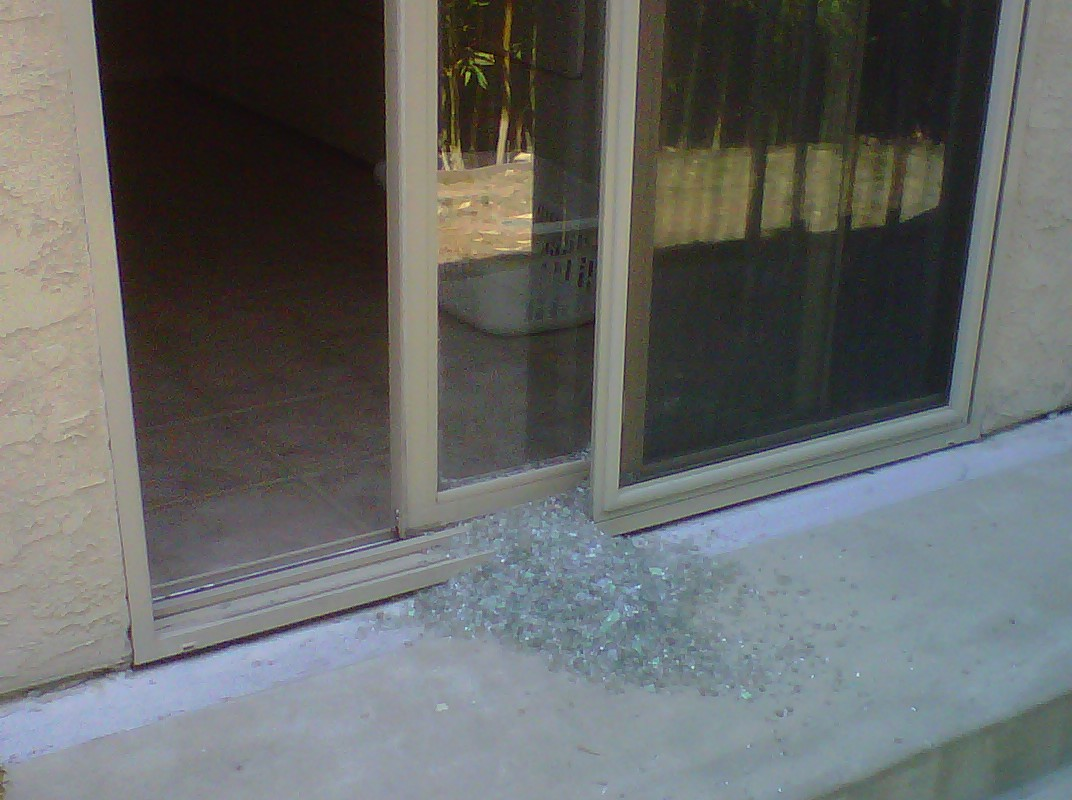Shattered Sliding Glass Door O2 Pilates