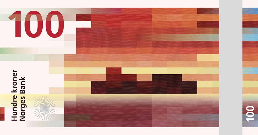 The back of the new Norweigan krone banknote series will feature a pixelated interpretation of the sea from Oslo's Snøhetta Design.