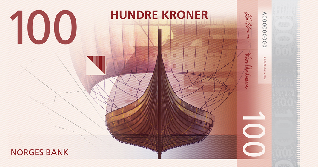 Norges Bank selected Metric System's designs, like this one, to be featured on the fronts of the new krone banknotes.