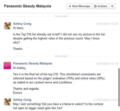 Part of Greig's and Panasonic's Facebook exchange.