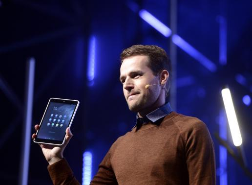 Sebastian Nystrom, head of product business at Nokia Technologies, presents N1, Nokia's new Android tablet, at the Slush 2014 event in Helsinki November 18, 2014.