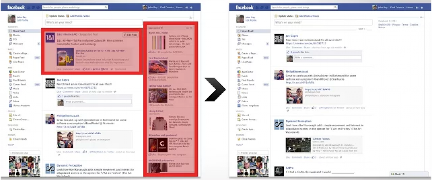 Facebook with and without the ads