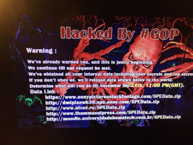 A photo of a screen showing what is apparently the skull splash page that appeared on Sony company computers when the attack started, posted by someone who said he was a former Sony employee who was sent the image by current Sony employees. The image was first posted on Reddit.