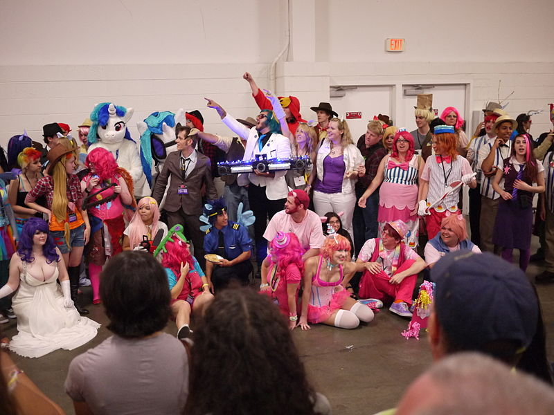 Cosplayers of numerous characters from the show My Little Pony: Friendship Is Magic, at the 2012 Summer BronyCon.