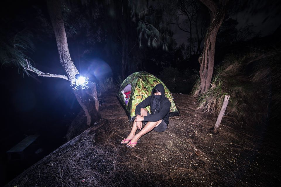 Keow at his camp site at Ijen crater. He camped there for 3 days 2 night.
