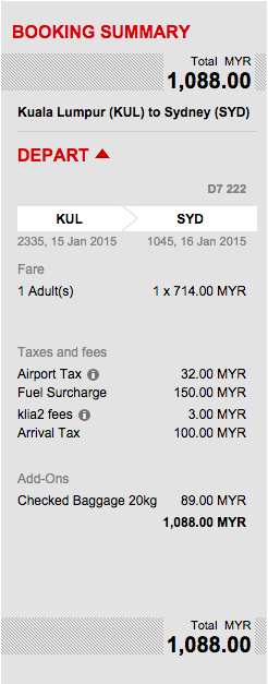 A breakdown of an AirAsia airfare from Kuala Lumpur to Sydney.