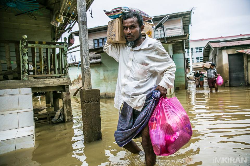 A Myanmar refugee after getting his aid from Kiran's team.