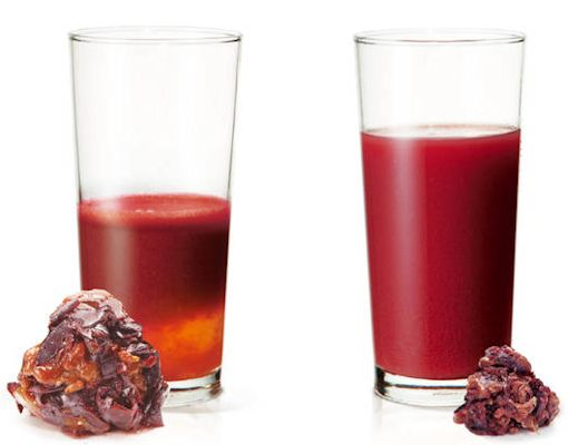 Normal juicing (left) vs. cold-pressed juicing (right).