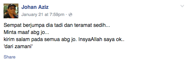 Image from Facebook Johan Aziz