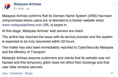 Image from Malaysia Airlines via Facebook