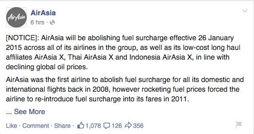 AirAsia announces the abolishment of the fuel surcharge on its Facebook page.