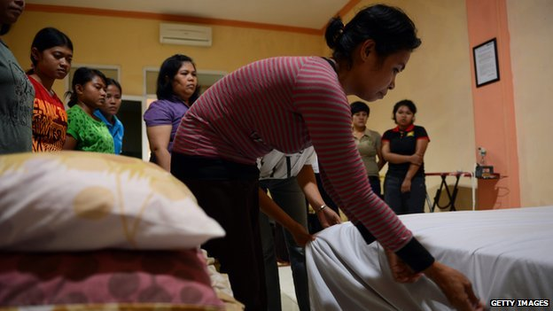 Indonesians are employed as domestic helpers in countries across South East Asia
