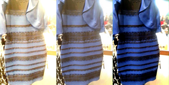 The original image is in the middle. At left, white-balanced as if the dress is white-gold. At right, white-balanced to blue-black!