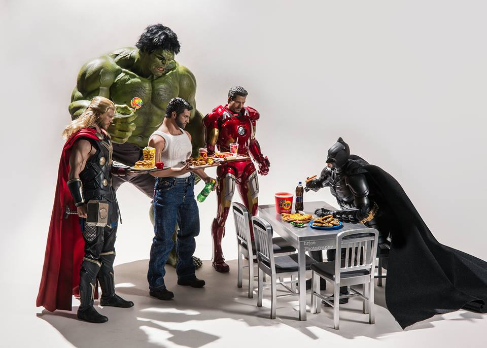 Batman eats alone, you guys. You can't sit with him.