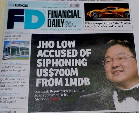 The Edge's cover story of Jho Low and 1MDB that was published on 27 February 2015 .
