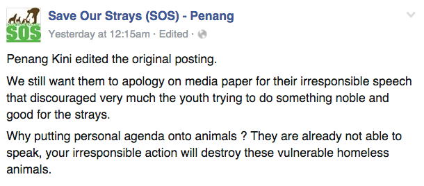Image from Facebook Save Our Strays (SOS) - Penang