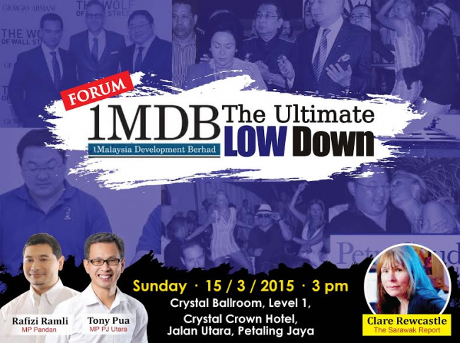 "The press release announcing that Sarawak Report's chief investigative journalist, Clare Rewcastle joining the forum ""1MDB: The Ultimate Low Down"" via video conference."