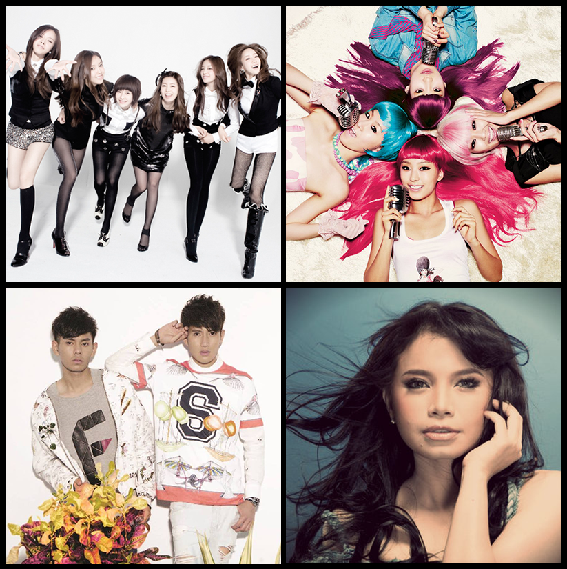 Clockwise from top-left: T-ara, SISTAR, Rossa, Fuying & Sam