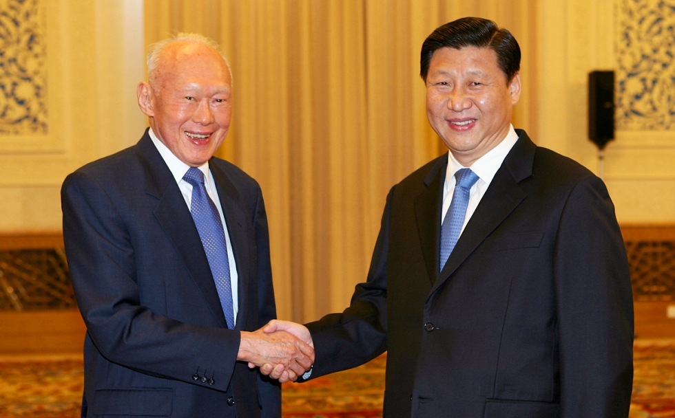 President Xi Jinping (right) shakes hands with Lee Kuan Yew at the Great Hall of The People, Beijing, Nov 2007.