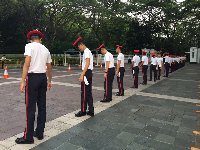 Ceremonial guards at the Istana getting ready for the funeral procession for Mr Lee Kuan Yew at 9am.