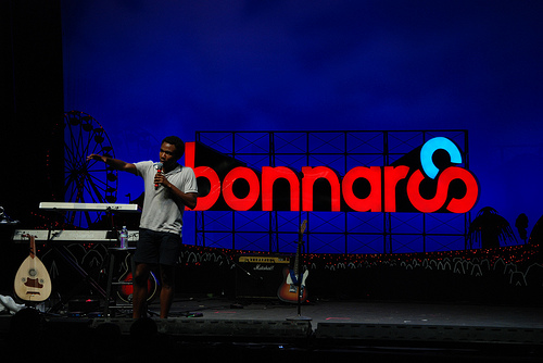 A stand up comedian performing at Bonnaroo.