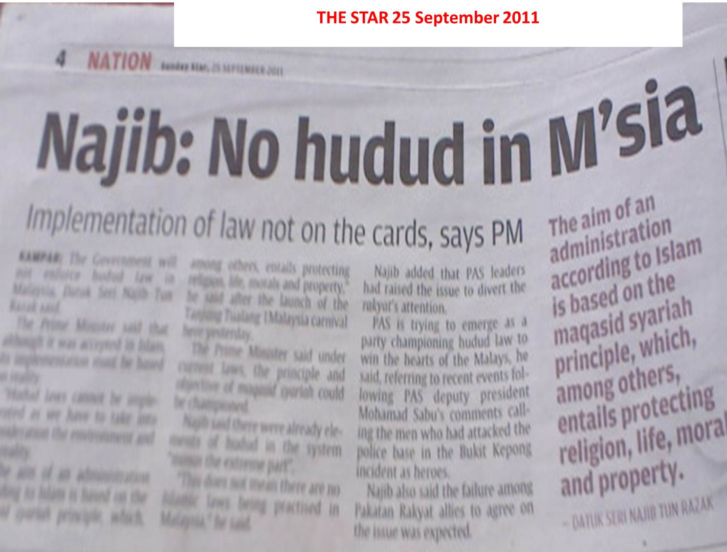If You Think Najib Has Made A Statement About HUDUD, Think Again