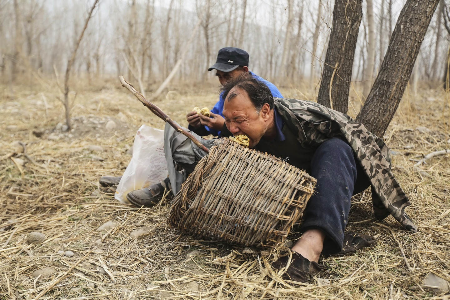 Jia Wenqi and Jia Haixia eat food during a break from their tree planting.