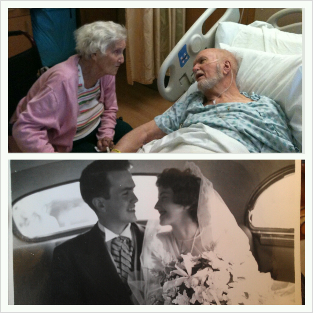 Photos of a couple's moments at a hospital juxtaposed against their wedding day which went viral on Reddit.