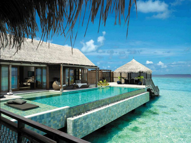 One of the luxurious overwater bungalows in Maldives.