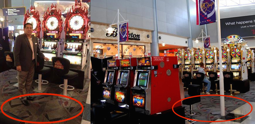 On the left, the photo of Datuk Abdullah circulating on Facebook, and on the right, a photo of the McCarran Las Vegas airport. Notice the same carpets in both photos.