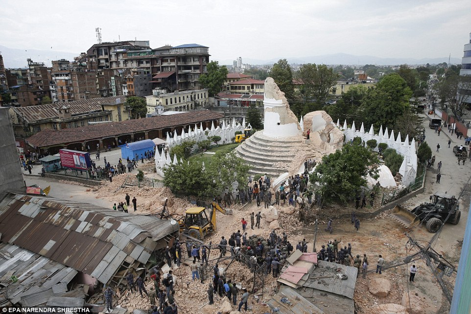 Before and after: The Dharahara Tower, one of Kathmandu's landmarks built by Nepal's royal rulers in the 1800s was reduced to rubble when the earthquake struck yesterday morning.