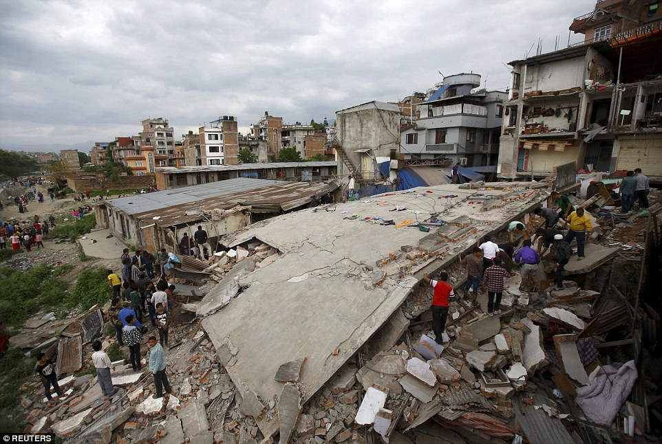 As well as leveling many of Kathmandu's homes and structures, the quake also left a dust pall over the valley, doctors and witnesses said.