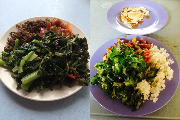 Non-gym day vs gym day lunch. Rice only on gym days.