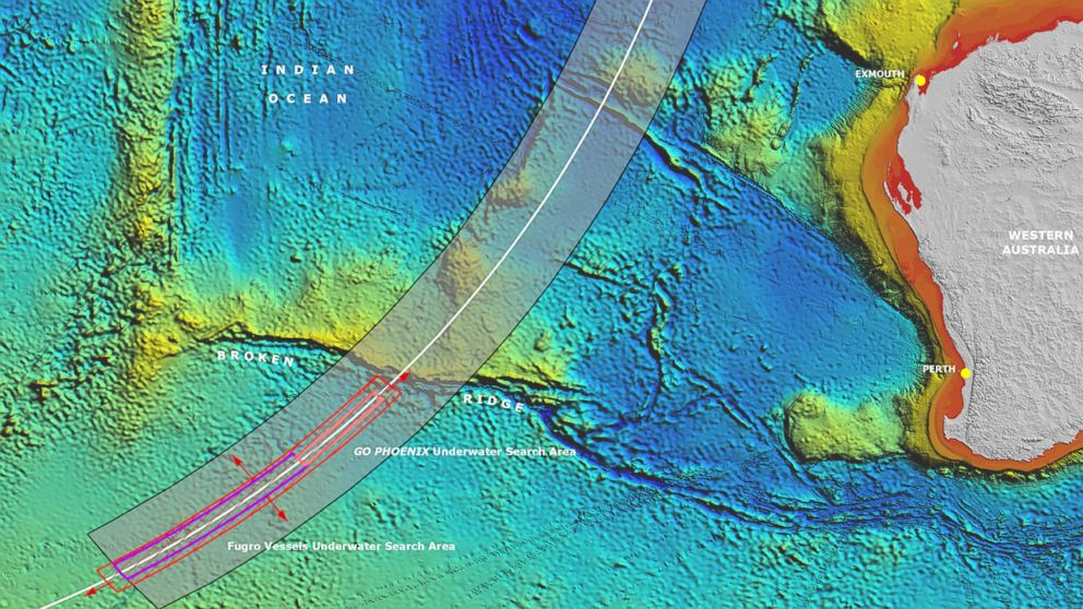 An expanded search zone for missing Malaysia Airlines Flight MH370.