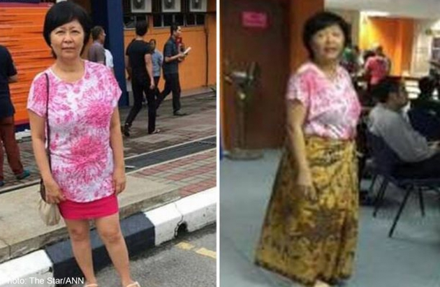 Before and after: Photos posted on Tan's Facebook page showing her original attire (left) and the sarong she was asked to wear at the JPJ office.