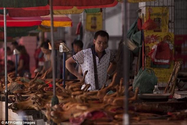 Dog meat on sale at a market in Yulin