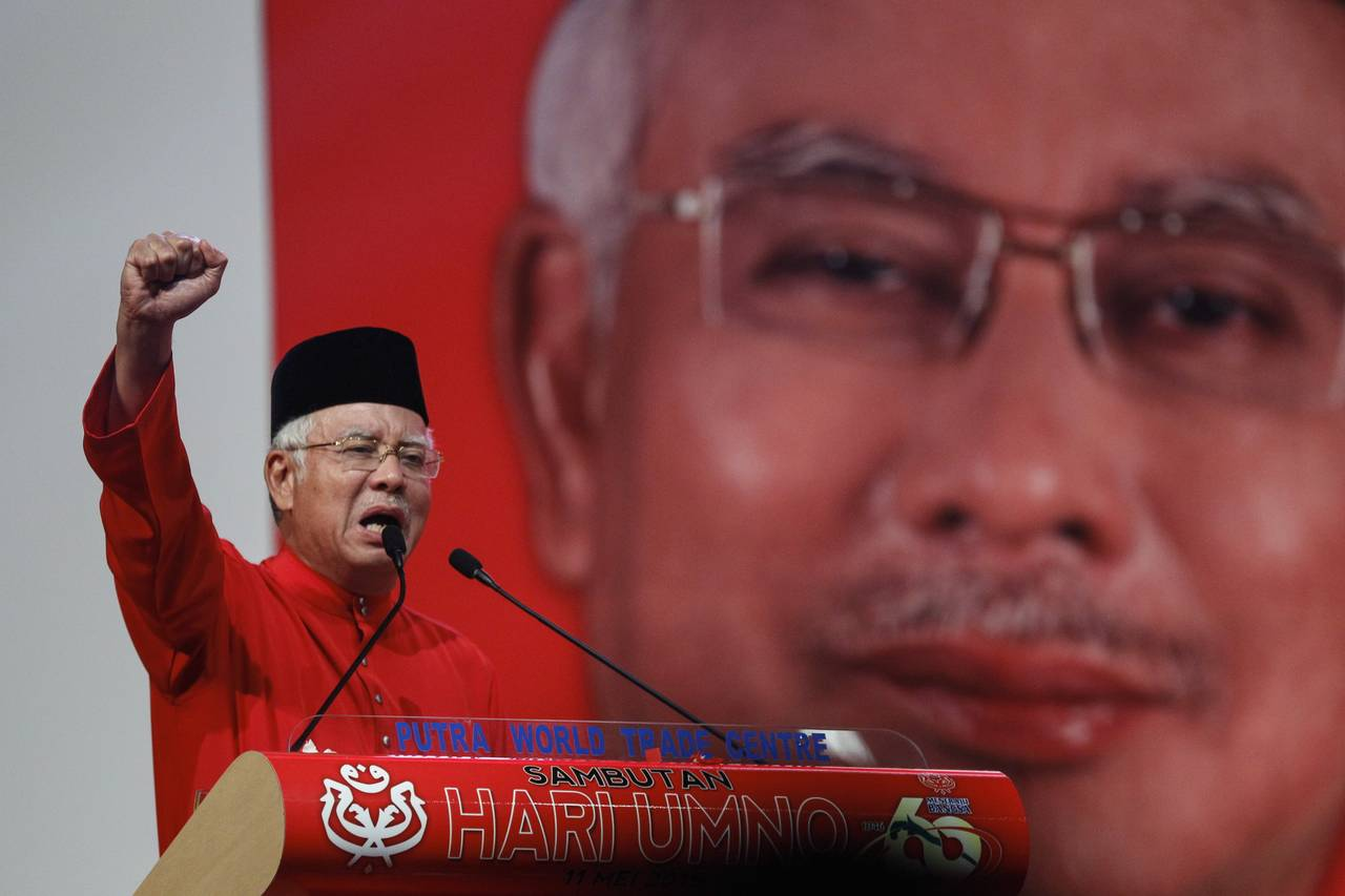 Najib while addressing delegates of the ruling party UMNO last month.