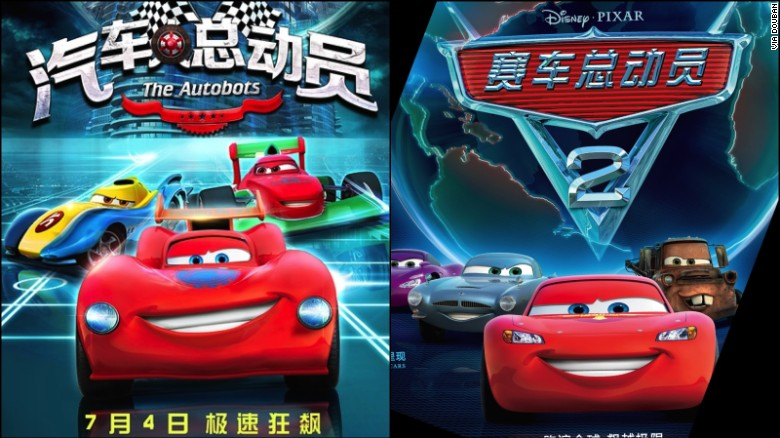 Promotional posters for 'The Autobots' (left) and 'Cars 2' (right).