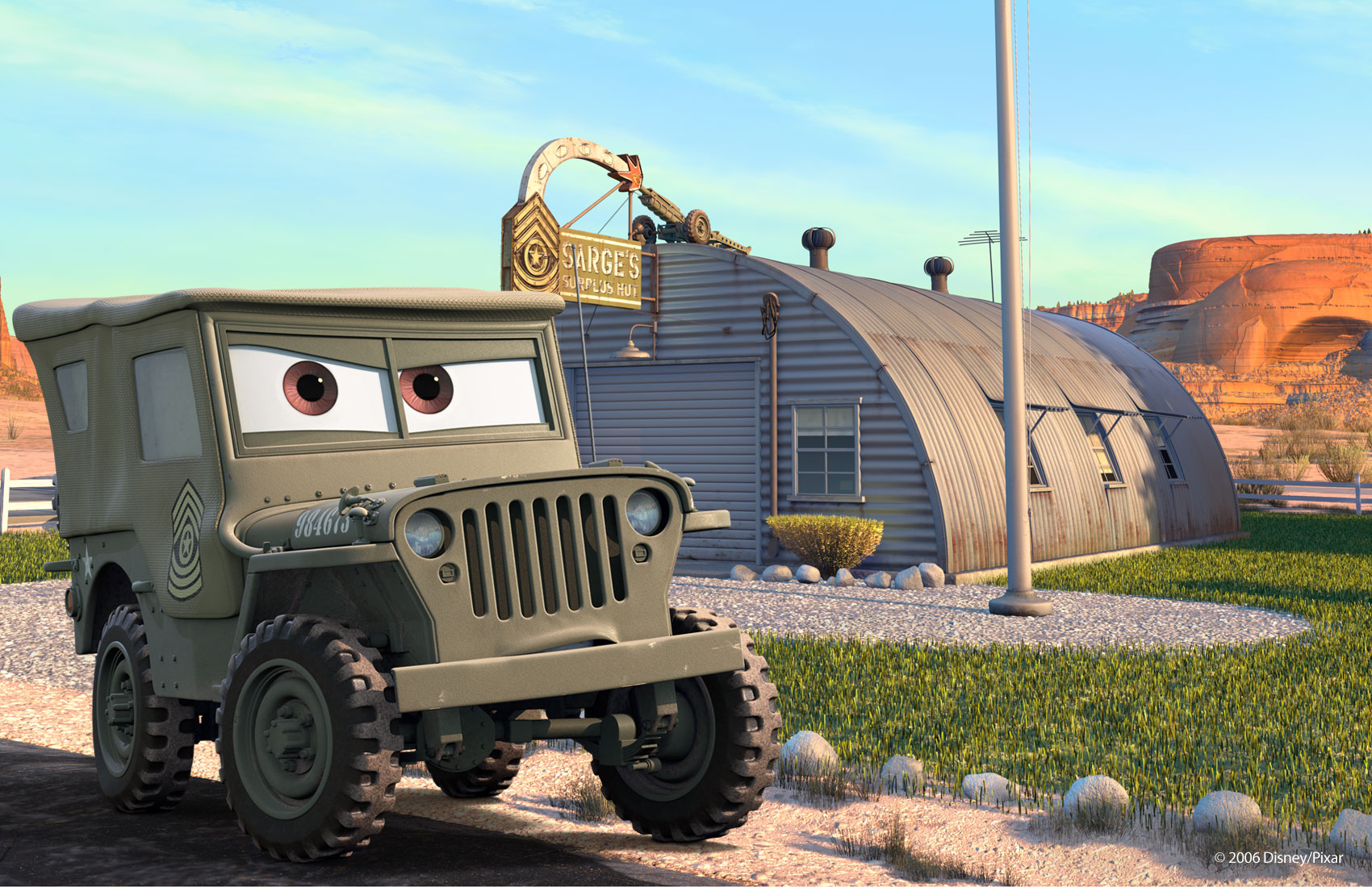 Sarge from 'Cars'.