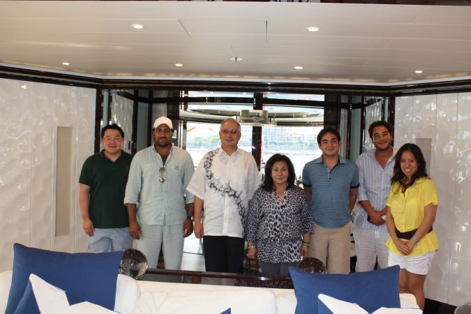 From left to right: Jho Low; Prince Turki, the owner of PetroSaudi; Prime Minister Najib Razak; Rosmah Mansor; Nor Ashman, the couple's son; Tarek Obaid, the Director of PetroSaudi, and Rosmah's daughter, Nooryana Najwa.